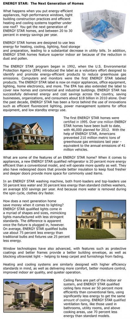 Energy Star: The  Next Generation of Homes