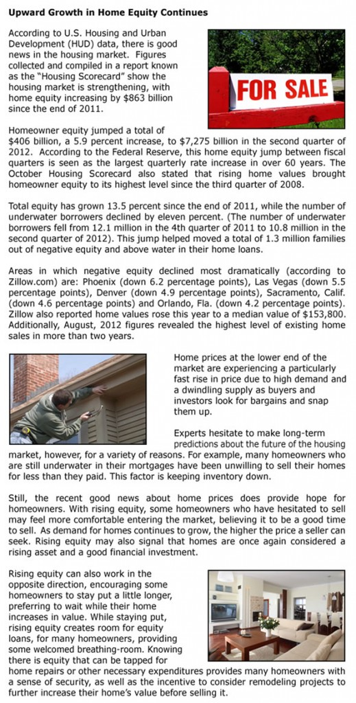 Upward Growth in Home Equity Continues