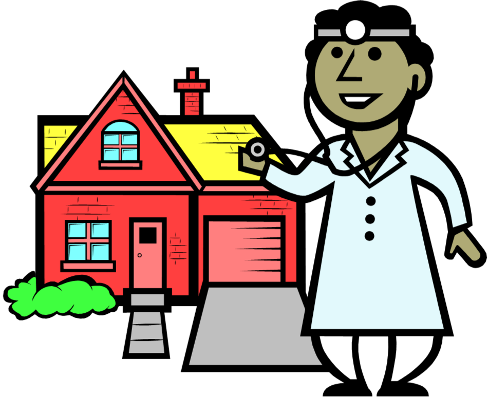 drawing-of-a-doctor-giving-a-house-a-check-up