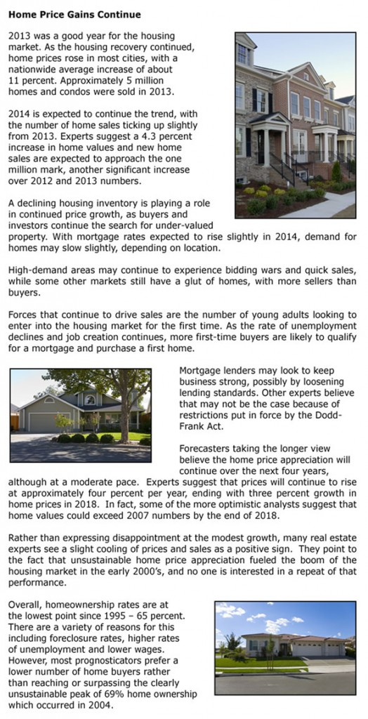 Home Price Gains Continue